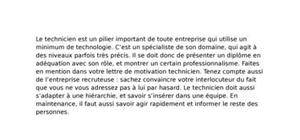 Lettre de Motivation Technicien