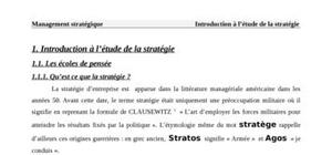 L'etude de la strategie