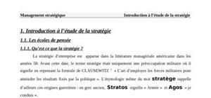 L'etude de la strategie