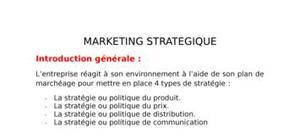 Marketing stratégique- stratégie  et positionnement