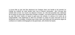Lettre de Motivation Fille au Pair