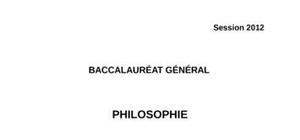 Sujet Philosophie ES 2012