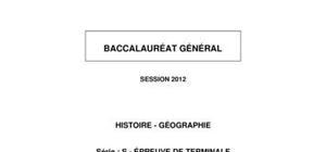 Sujet BAC S Histoire-Géographie 2012