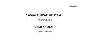Sujet Grec Ancien Bac L 2012