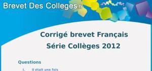 Corrigé Français Brevet 2012