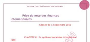 Prise de note de finance international