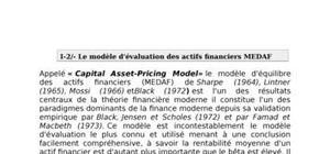 Modèle d'evaluation des actifs financiers medaf