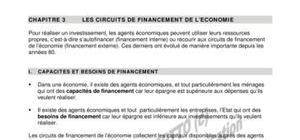 Les circuits de financement de l'economie