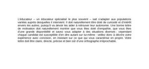 Lettre de motivation éducateur