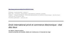 Droit international privé et commerce électronique : état