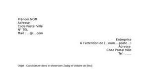 Lettre de motivation Zadig et Voltaire