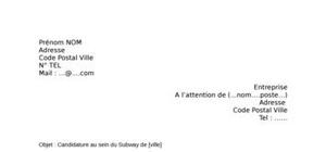 Lettre de motivation Subway