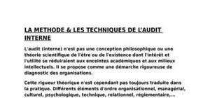 Audit interne au maroc l'audit (interne) n'est pas une conception philosophique ou une théorie scientifique de l'être ou de l'existence dont l'intérêt et l'utilité se réduiraient aux enceintes académiques et aux milieux intellectuels