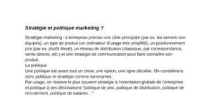 Stratégie et politique marketing