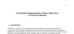 La nouvelle stratégie agricole au maroc (plan vert) :