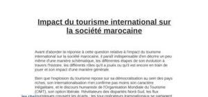 Impact du tourisme international sur la société marocaine