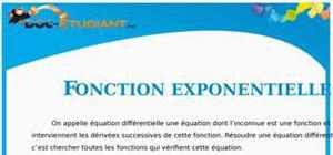 Cours Fonction Exponentielle : Terminale ES, S