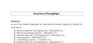 Exercices d'énergétique