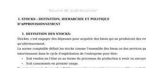 Audit de la fonction gestion des stocks