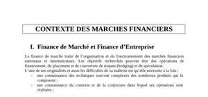 Contexte des marchés financiers