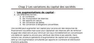 Les variations de capital des sociétés