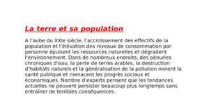 La terre et sa population
