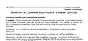 Definition de l'economie industrielle et l'interet du cours