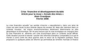 Crise  financière et développement durable