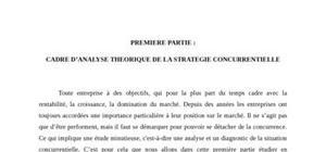 Cadre d'analyse theorique de la strategie concurrentielle