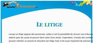 Les Litiges en Droit : Cours Droit Première STG