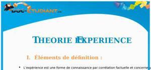 Théorie et Expérience : Cours Terminale L