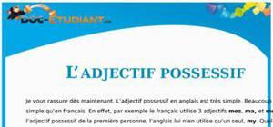 Exercice d'anglais sur l'Adjectif Possessif