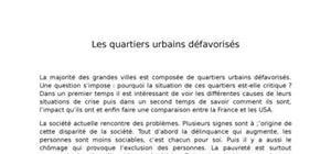 Note de synthèse sur les quartiers urbains défavorisés