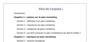 Exposé sur le plan marketing