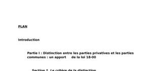 Distinction entre les parties privatives et les parties communes