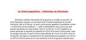 Le front populaire: reformes et divisions
