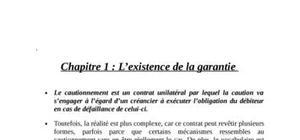L'existence de la garantie