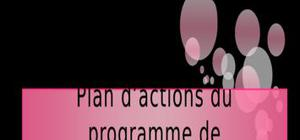 Plan d'actions du programme de développement régional touristique