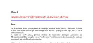 Adam smith et l'affirmation de la doctrine libérale