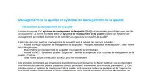 Management de la qualité et système de management de la qualité