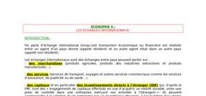 Les echanges internationaux