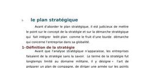 Le plan stratégique