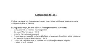"Cours d'italien traduction de ""on"""