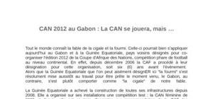 Organisation de  la can2012