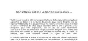 Organisation de  la can2012