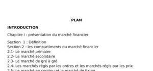 Organisation et fonctionnement d'un marché financier developpé