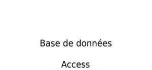 Cours base de donnée access