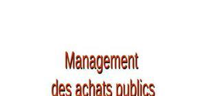 Management des achats publiques