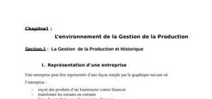 L'environnement de la gestion de la production