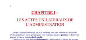 Les actes unilateraux de l'administration